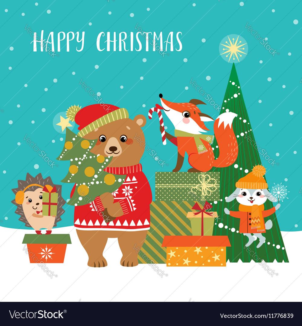 Woodland Christmas greetings vector image