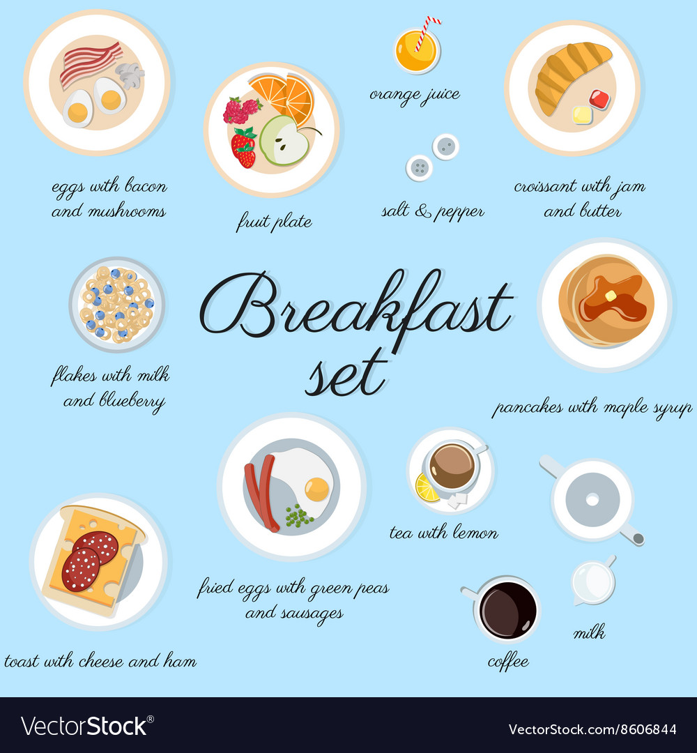 Big breakfast set isolated on blue top view