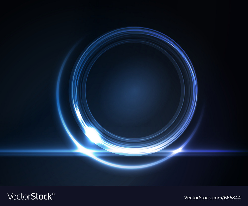 Blue glowing round frame