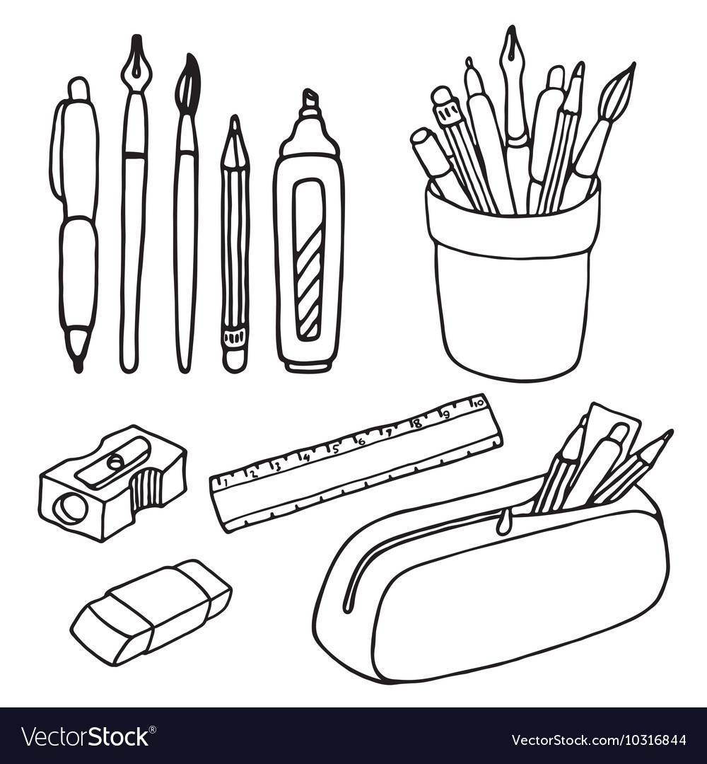 Раскраска стакан с карандашами