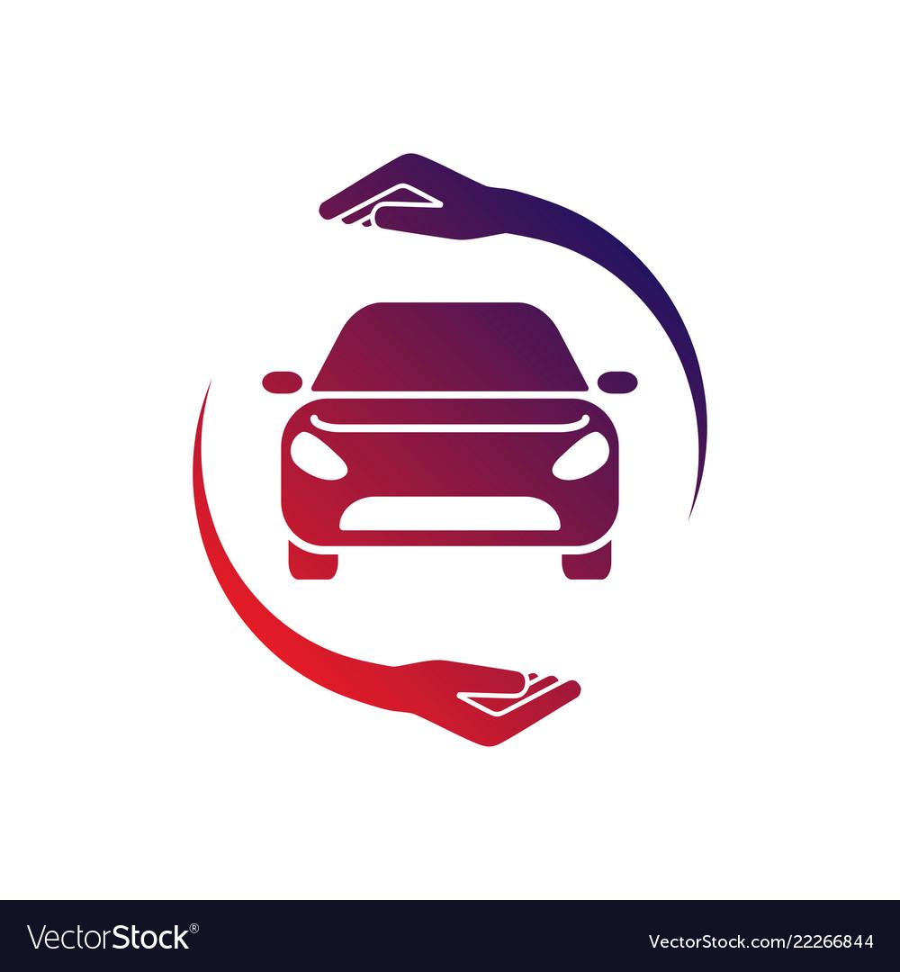 Car logo with circle hand colorful logo