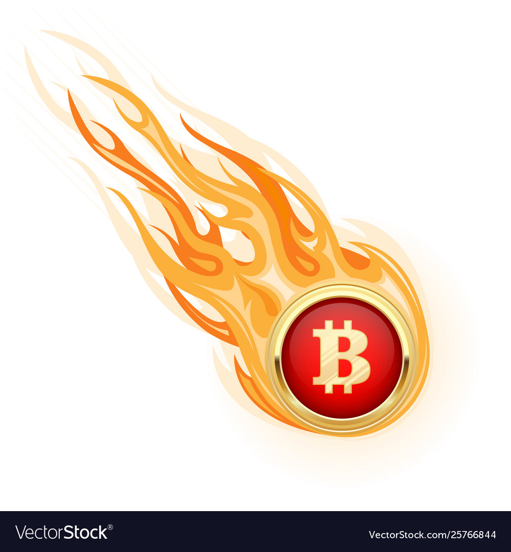 Decline bitcoin - fall flaming bitcoin