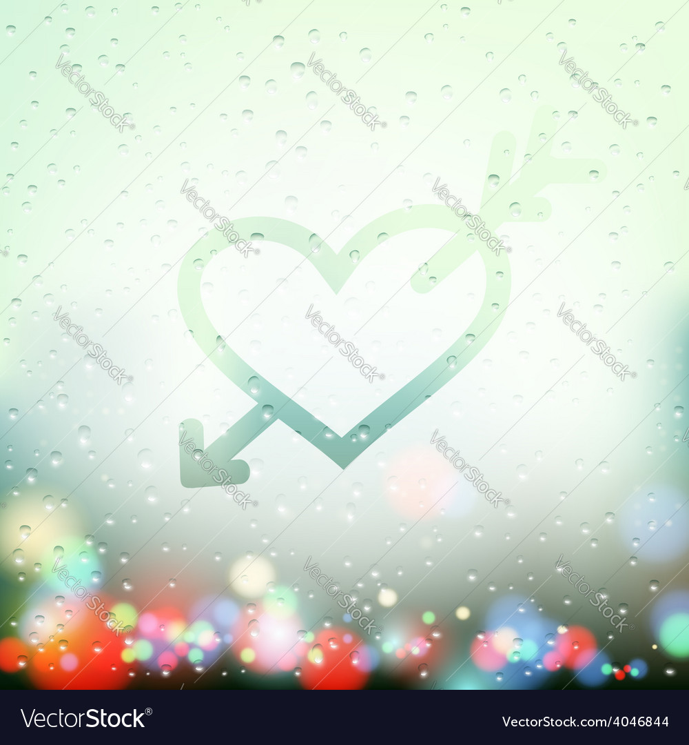 Heart with an arrow painted on Sweaty Window