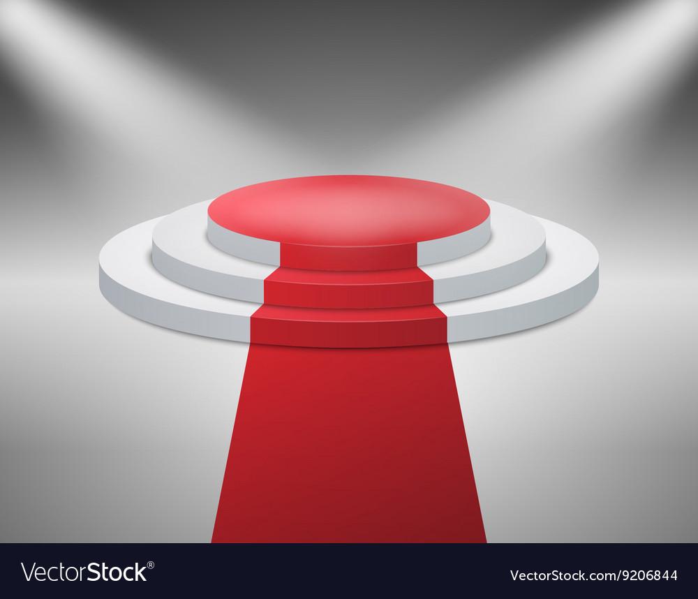 Illuminated with spotlight stage podium for award