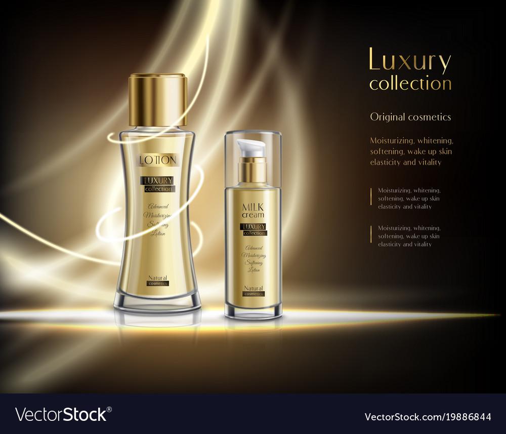 Luxury cosmetics realistic advertisement poster Vector Image