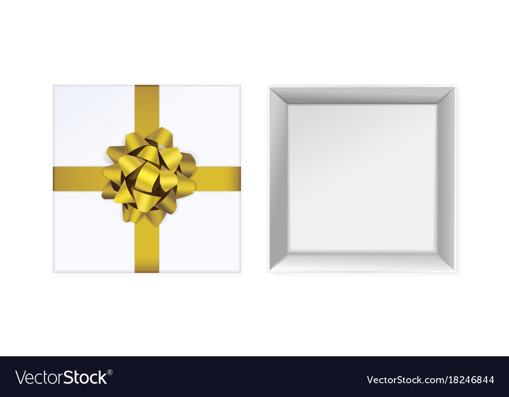 Open white gift box and with yellow bow