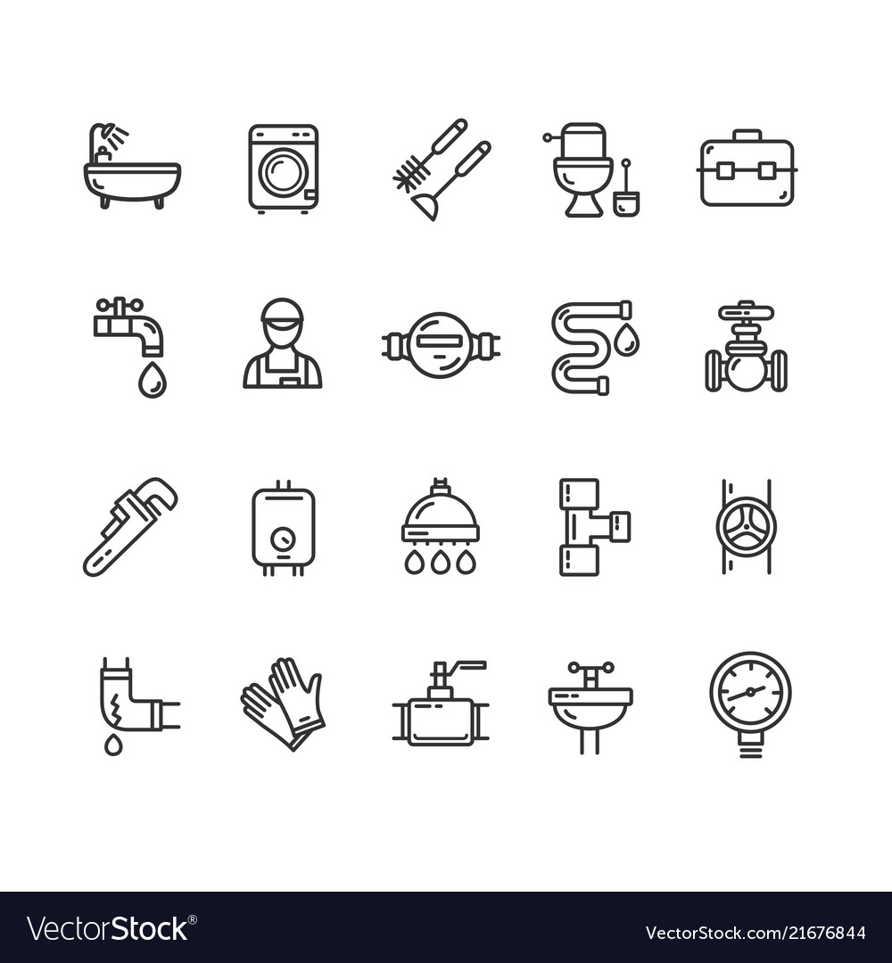 Plumbing signs black thin line icon set