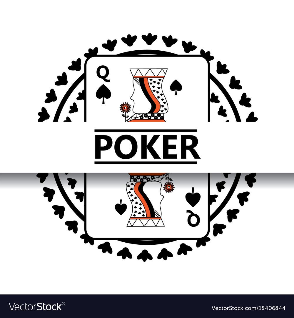 Poker poster spade queen card badge concept