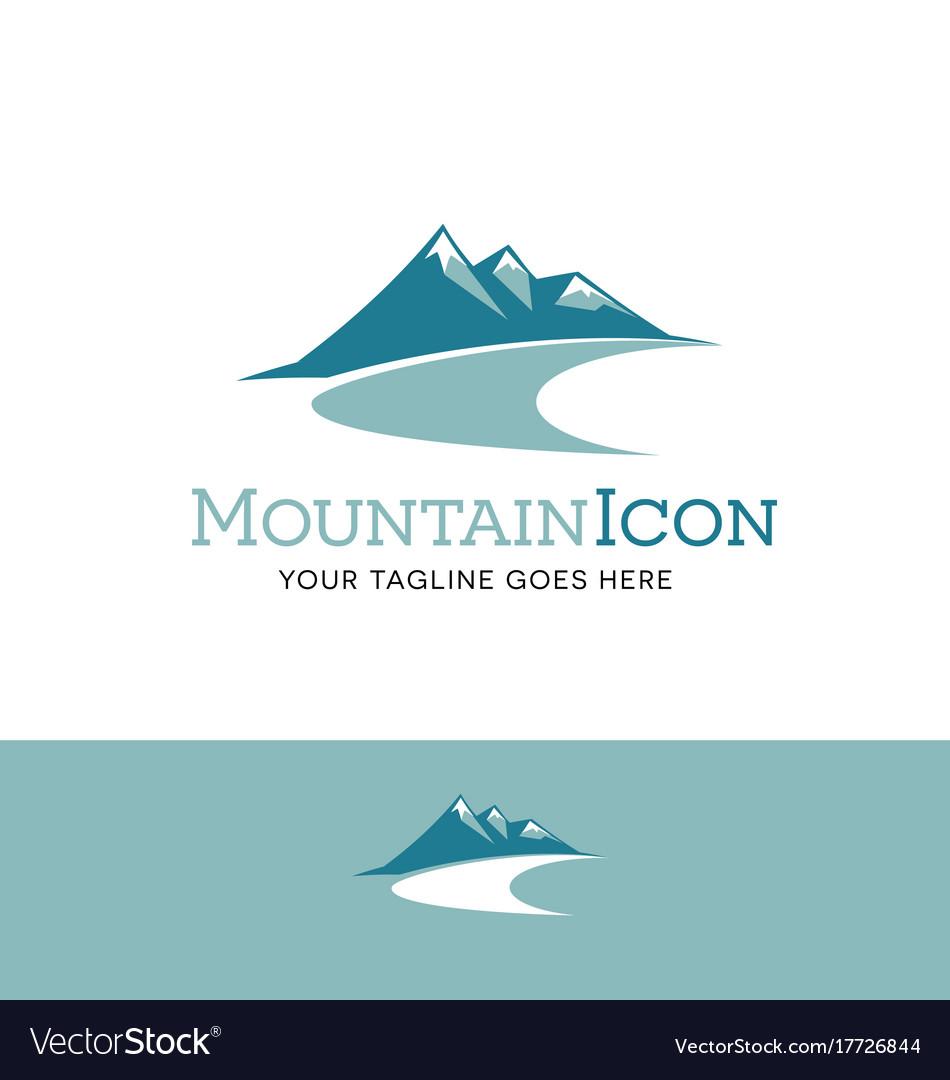 Teal mountains logo vector image