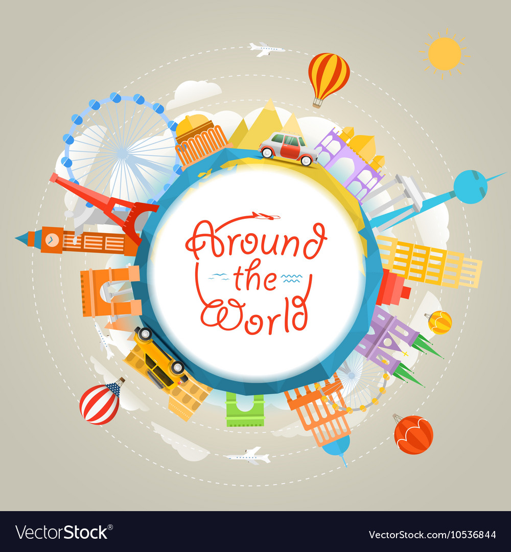 Travel around the world concept Template for a