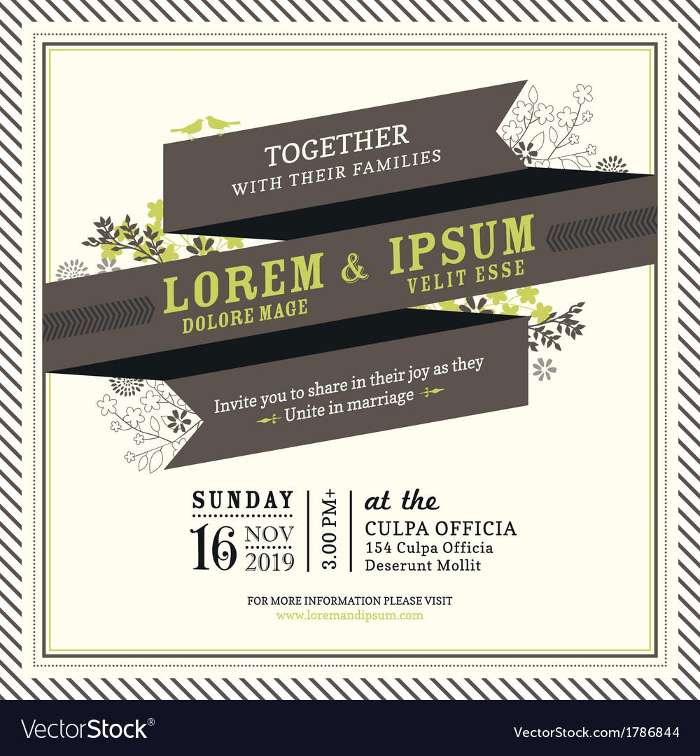 Vintage Ribbon banner Wedding invitation frame Vector Image