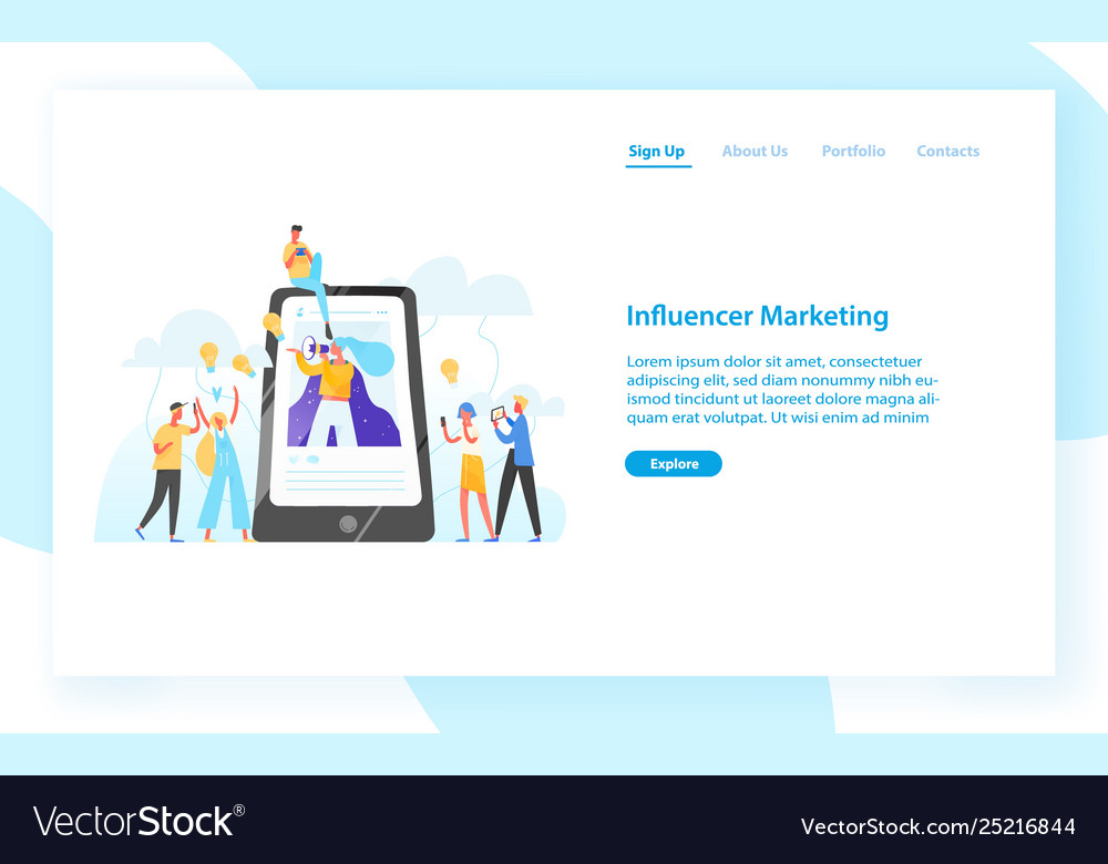 Web banner template with smartphone woman with