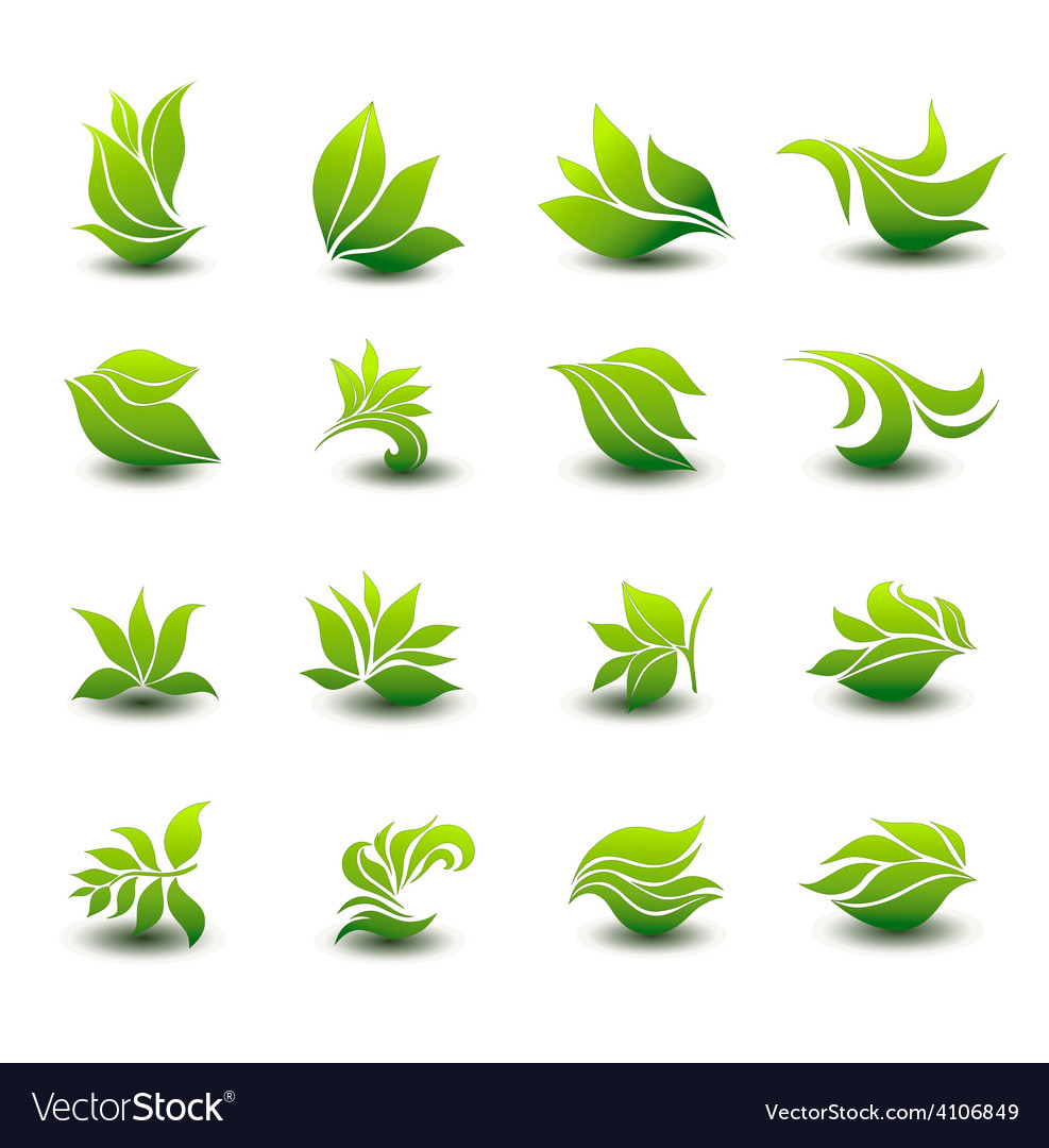 A great set of icons of stylized green leaves