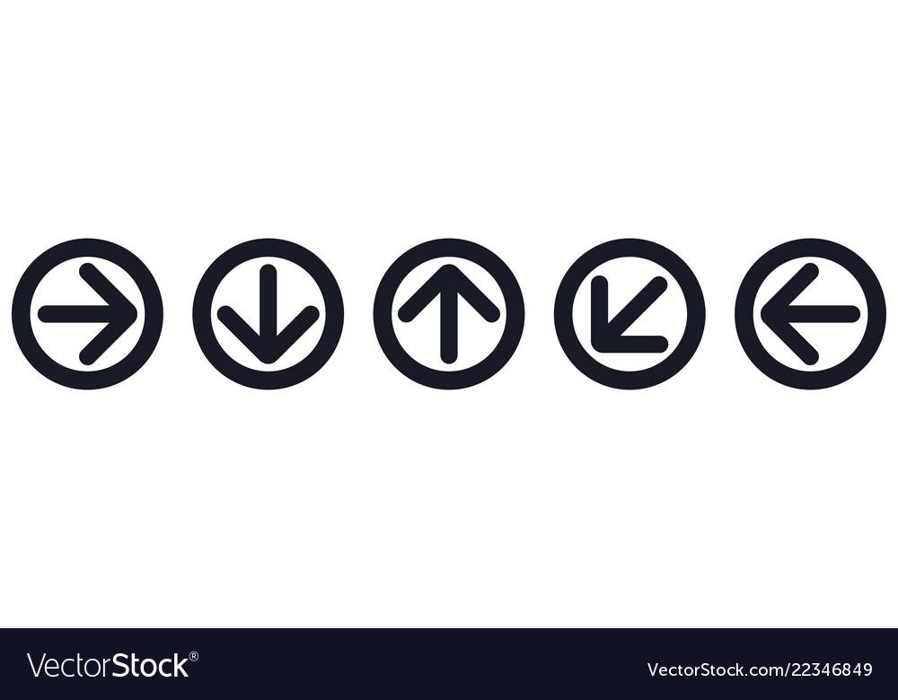 Black arrow icons web flat round signs
