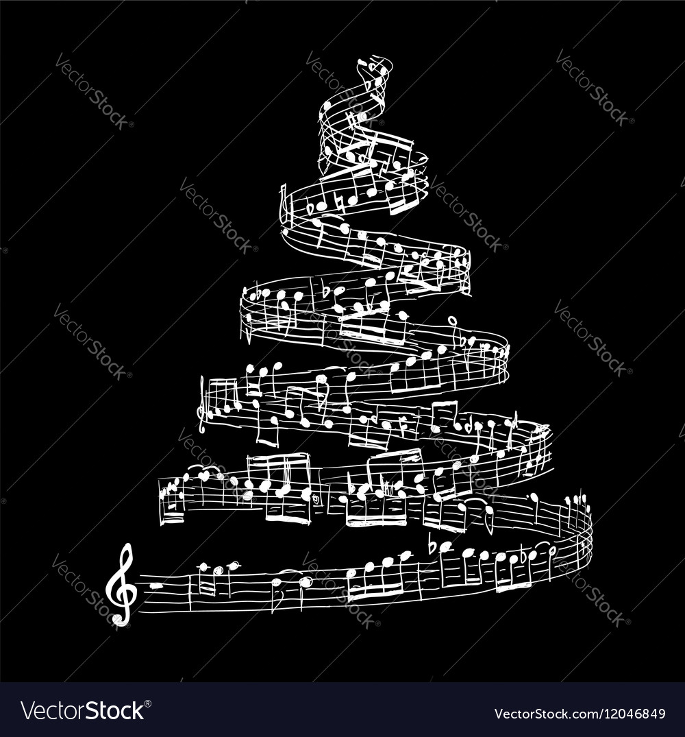 Christmas tree from music notes Royalty