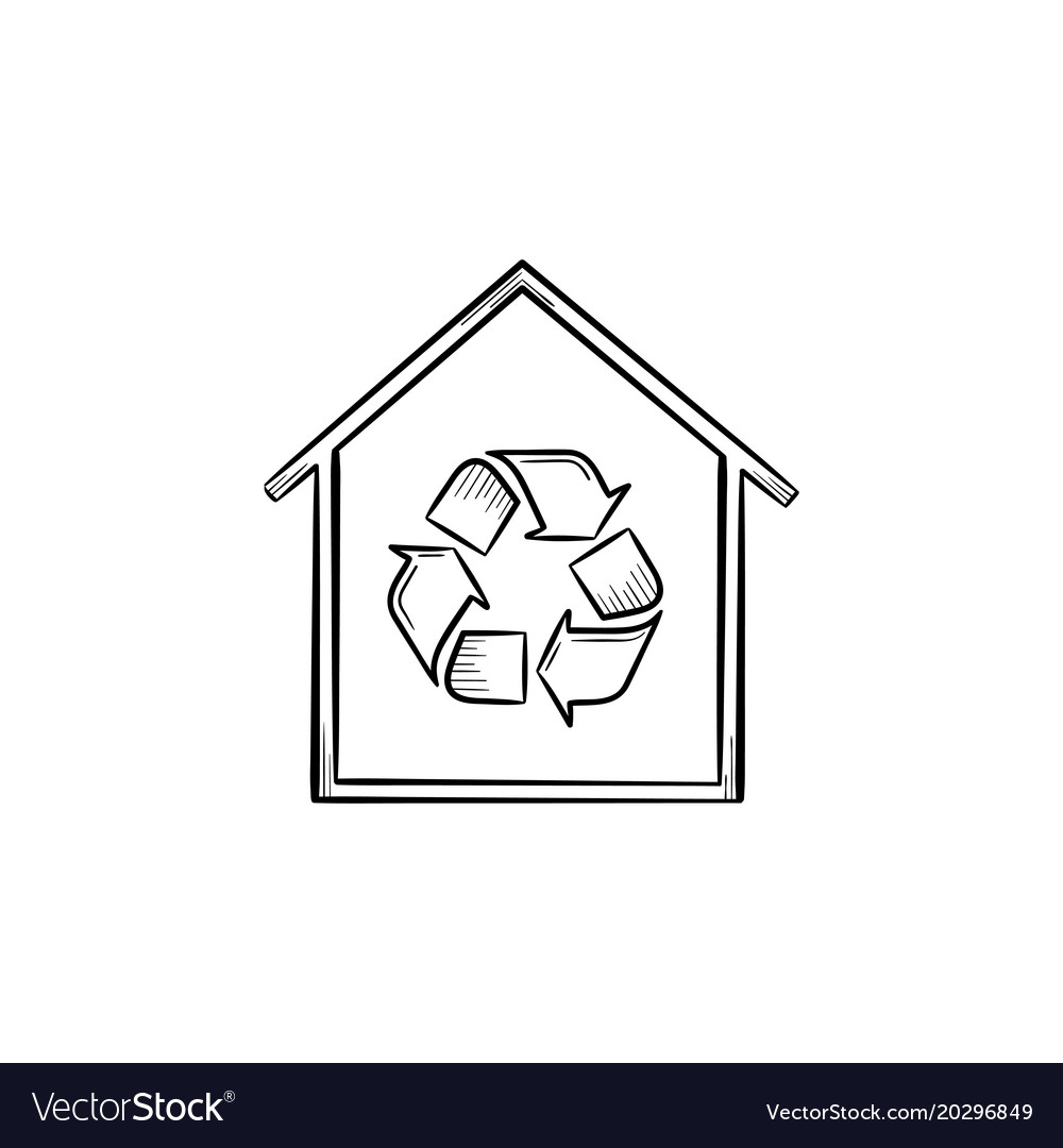Eco house with recycle symbol hand drawn icon