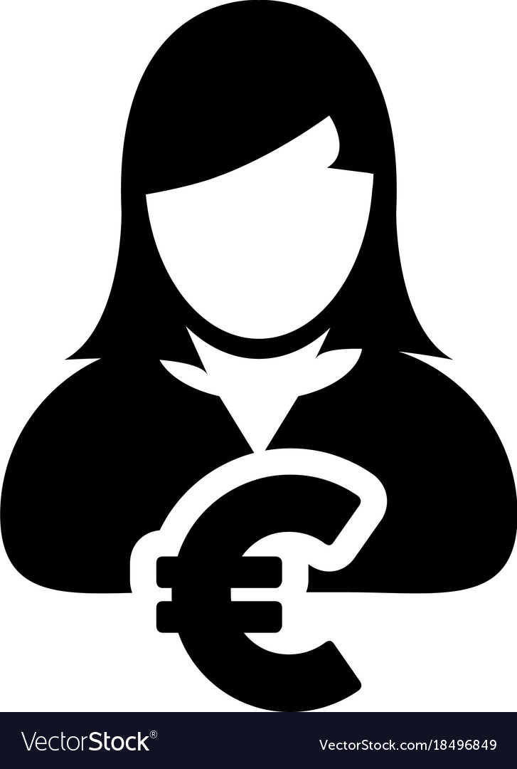 Euro Sign Icon Symbol Currency Female Person Vector Image