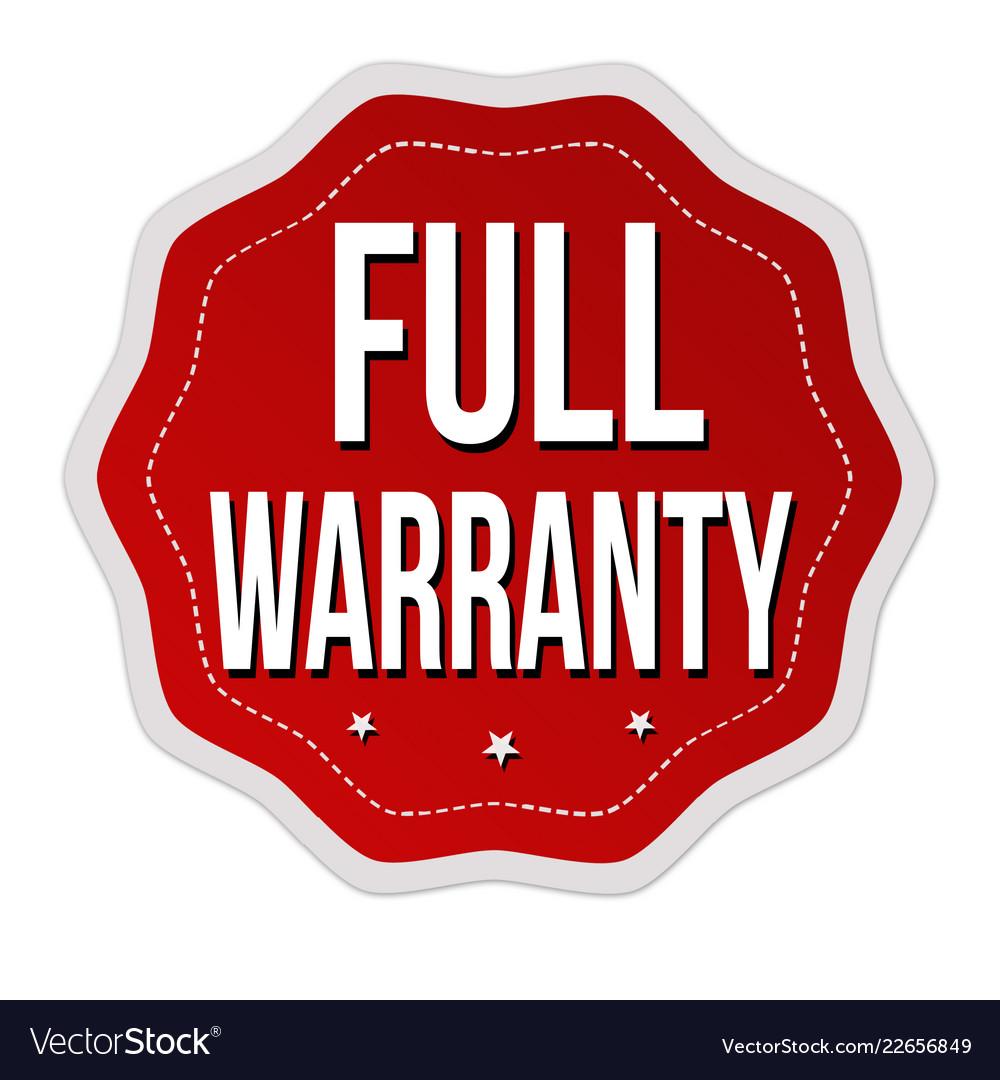 Full warranty label or sticker