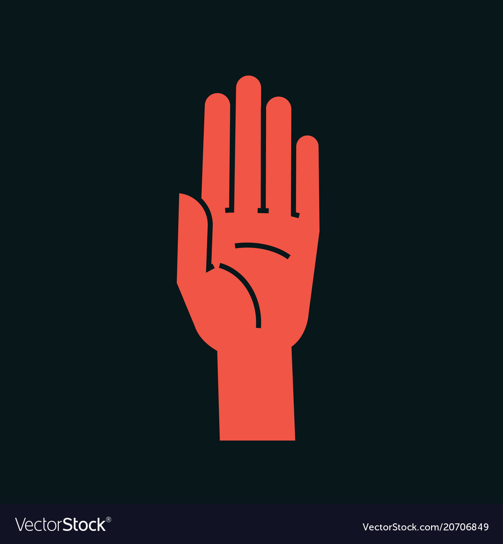 Gesture stop sign stylized hand with all fingers