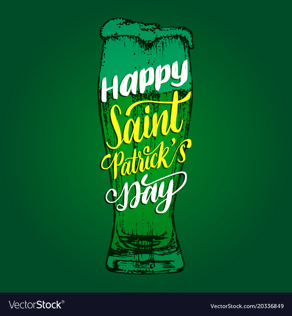 Happy saint patricks day handwritten phrase drawn