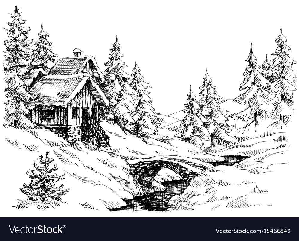 Mountain Cabin In The Woods Near River Royalty Free Vector