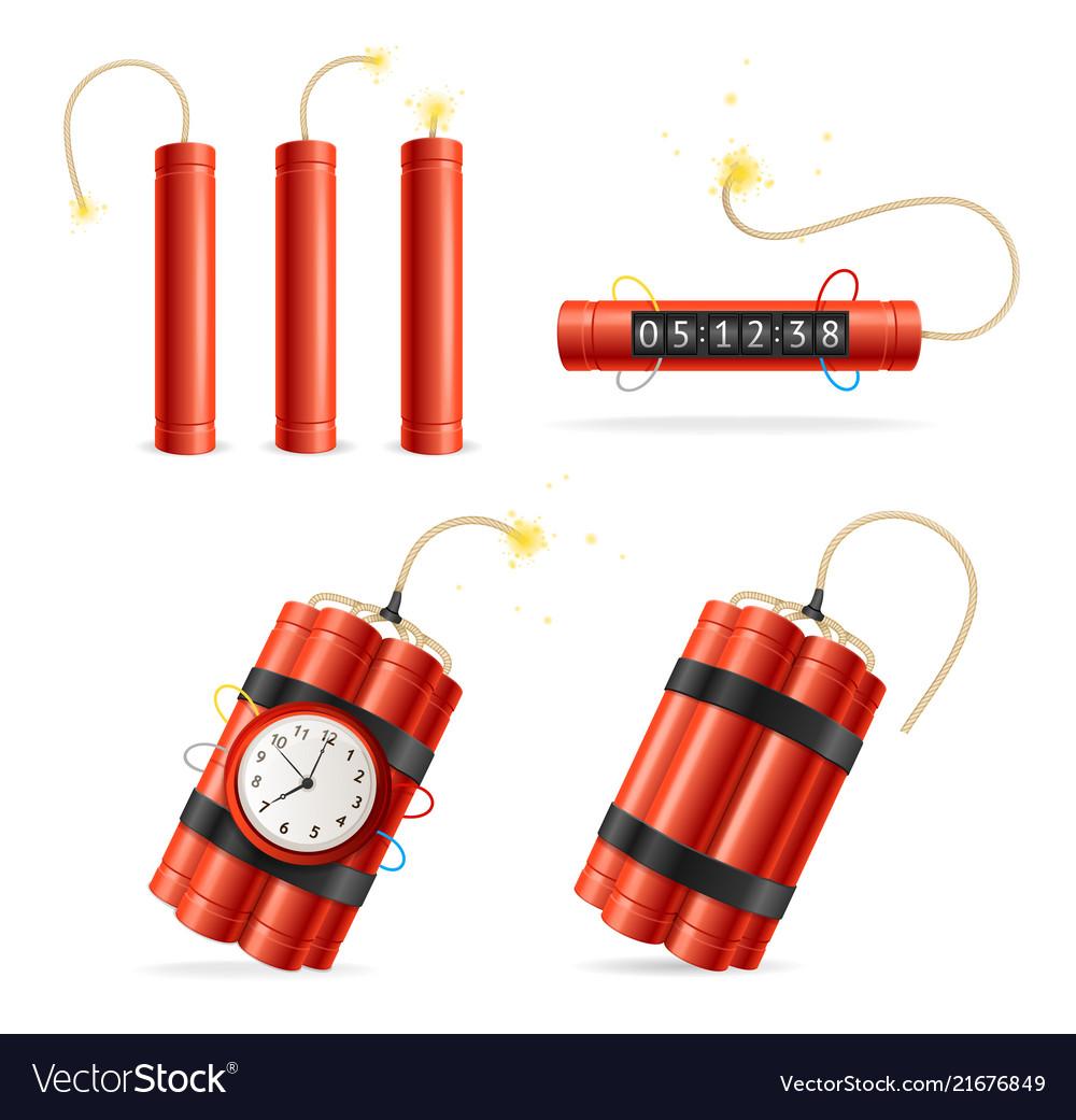 Realistic detailed 3d red detonate dynamite bomb