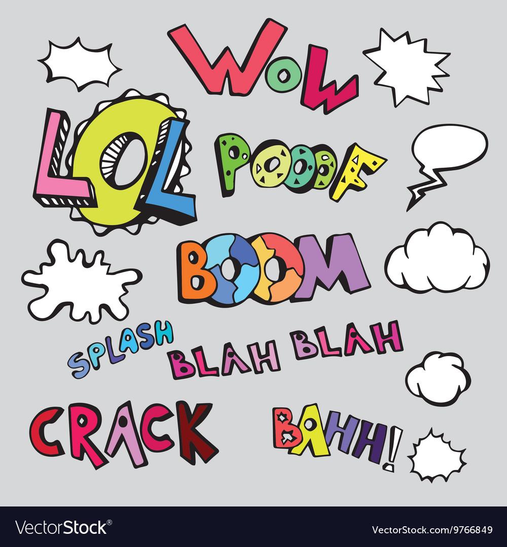 Set of comic text in pop art