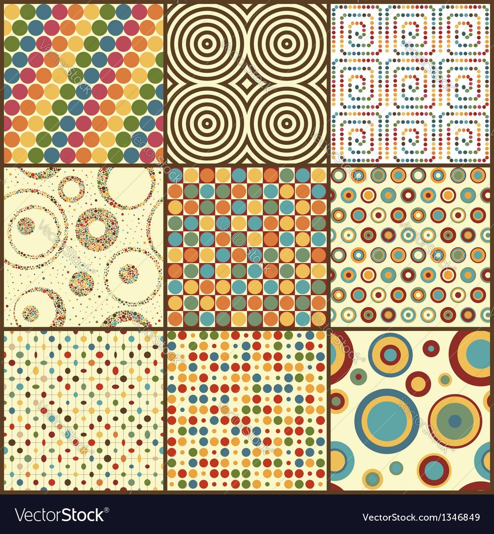 Set of nine retro geometric seamless patterns with