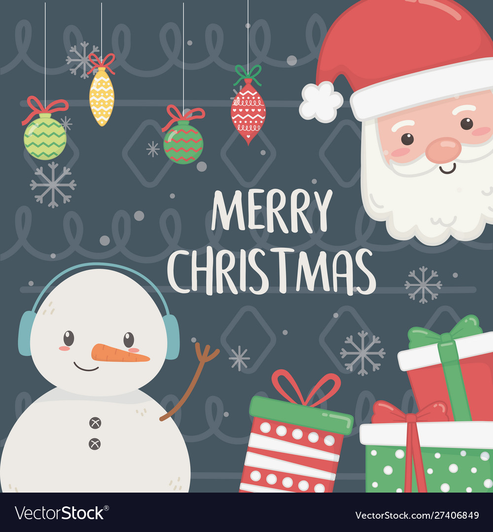 Snowman and santa with gifts and balls merry