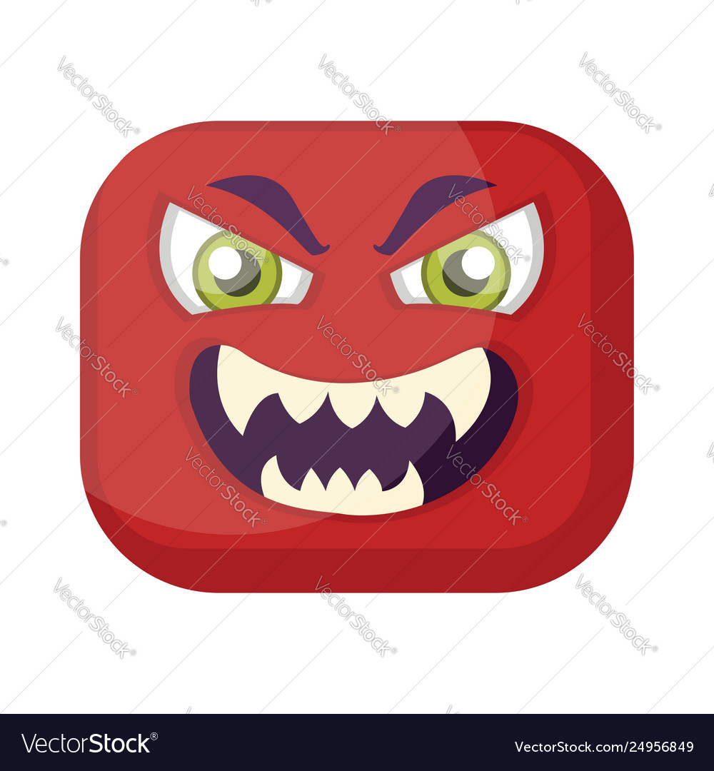 Sqaure red emoji face with evil smile on a white