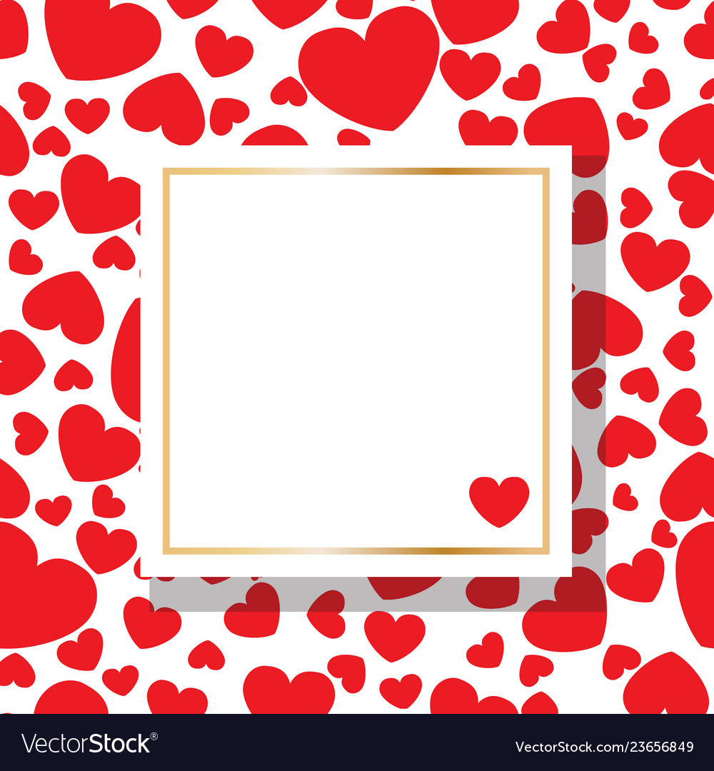 Square background with red hearts