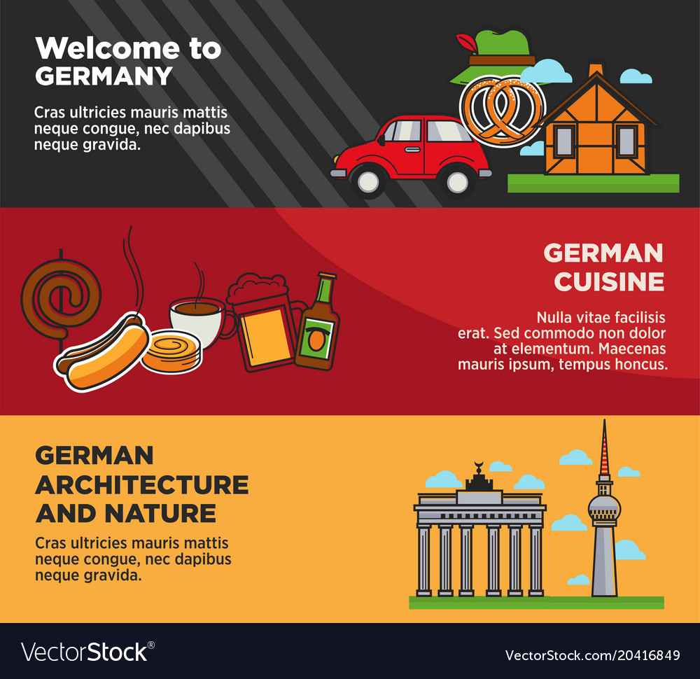 Welcome to germany advertisement banners with