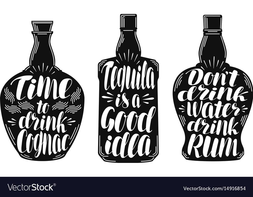 Alcoholic beverages strong drink label set