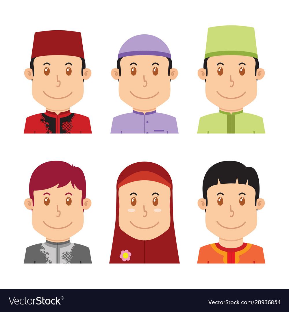 Avatar of muslim people vector image