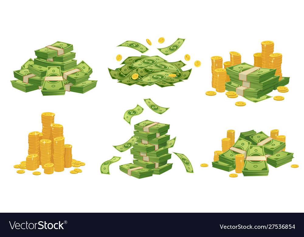 Cartoon money and coins green dollar banknotes vector