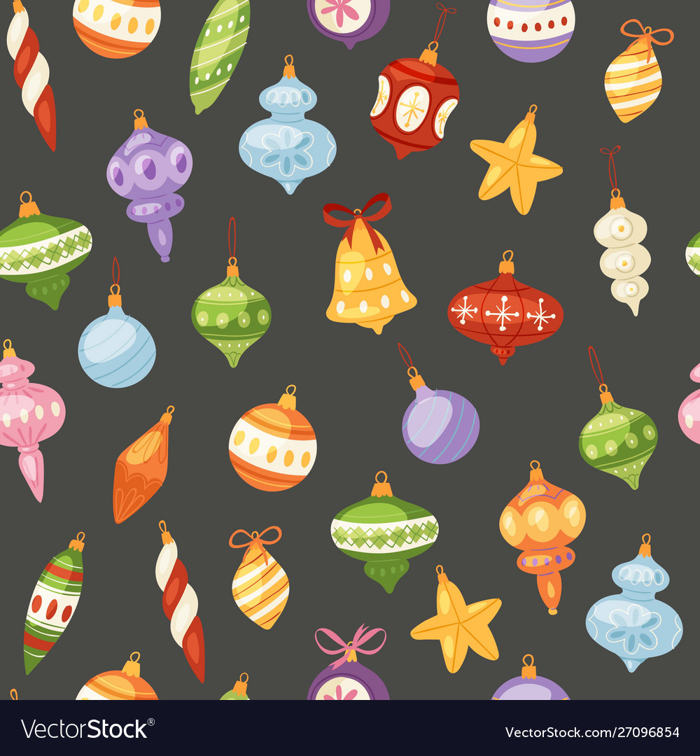 Christmas and new year balls seamless pattern