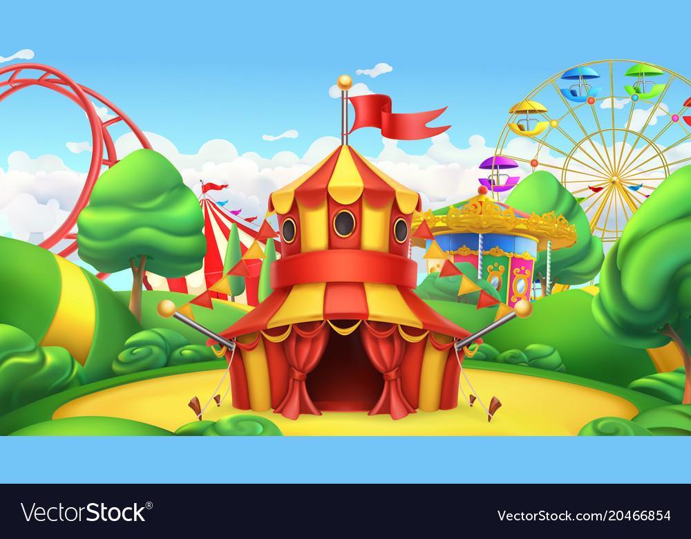 Circus tent amusement park 3d landscape