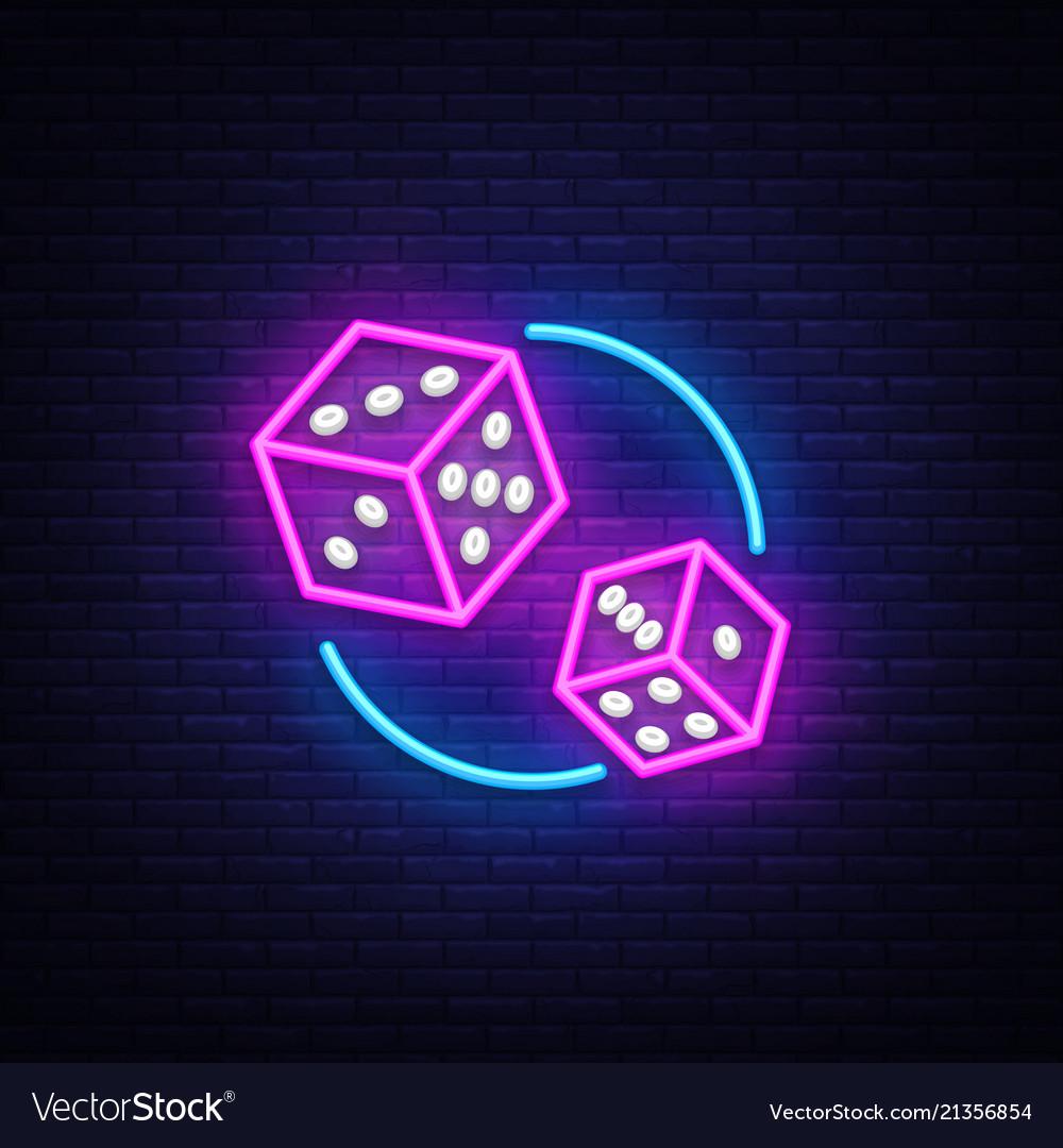 Dice neon sign design template dice game