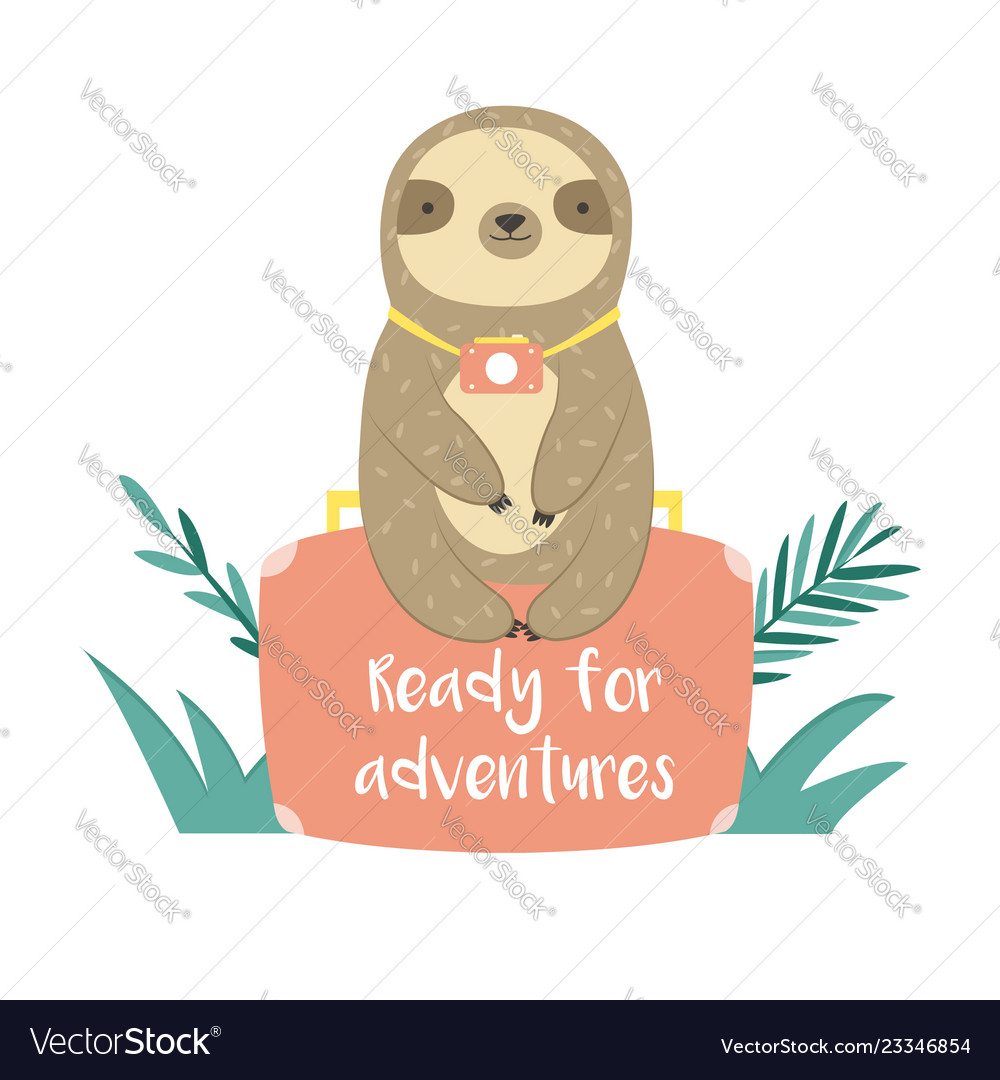 Funny sloth in jungles sitting on suitcase