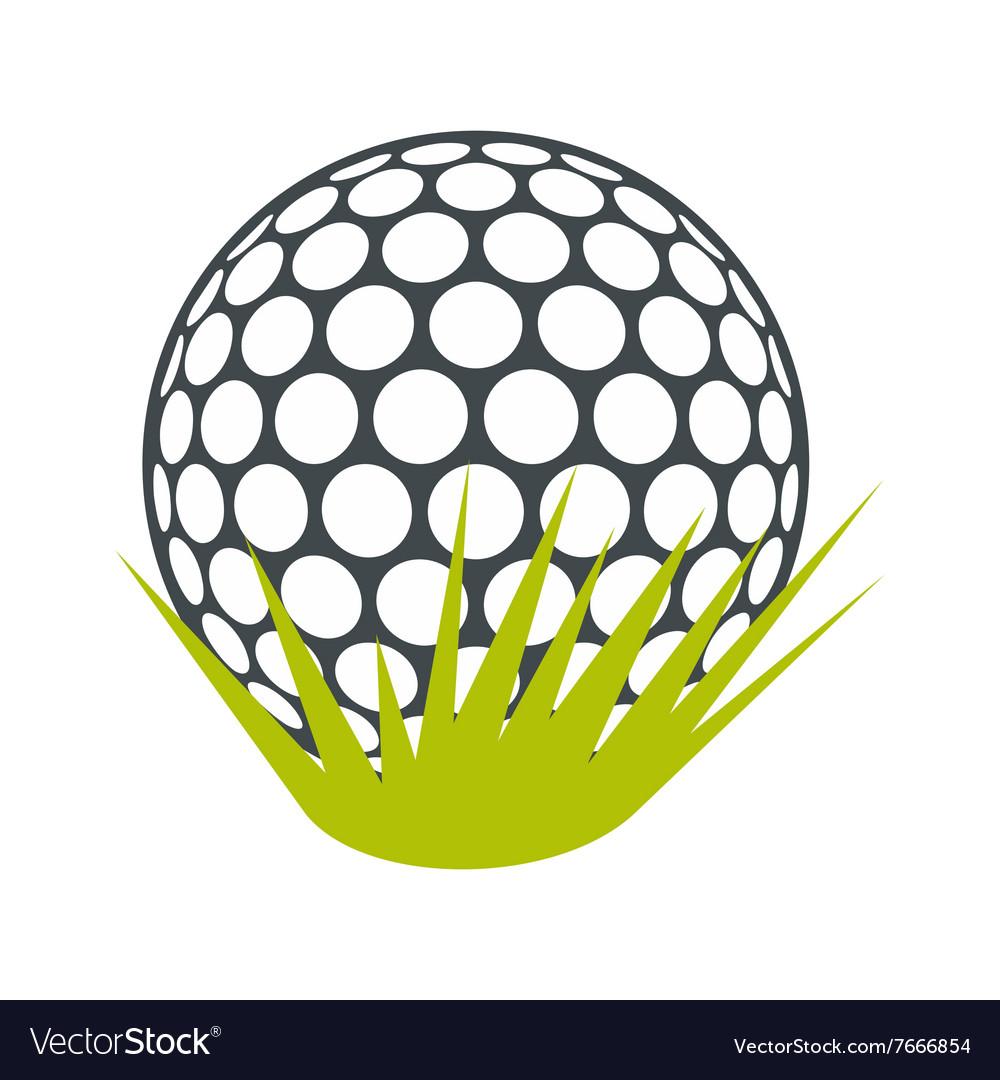 Golf ball on green grass flat icon