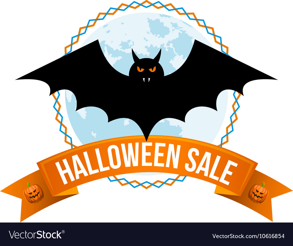halloween sale logo or label royalty free vector image