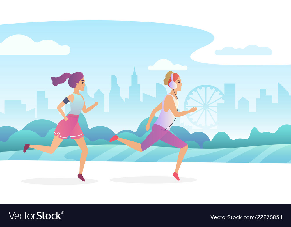 Happy couple running in city public park vector