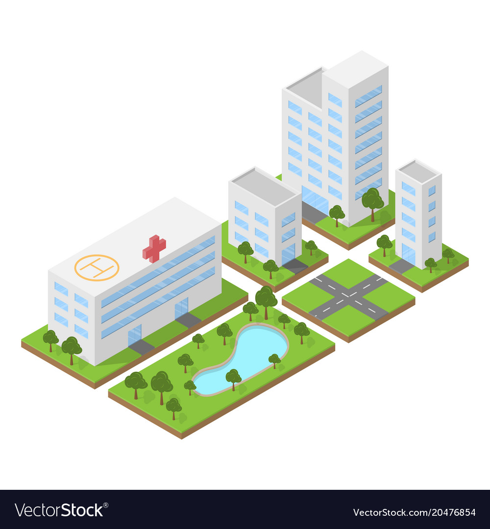 Isometric city building block flat 3d design vector image