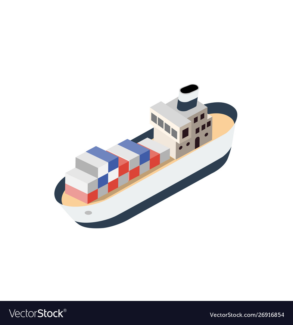 Isometric ship container vessel