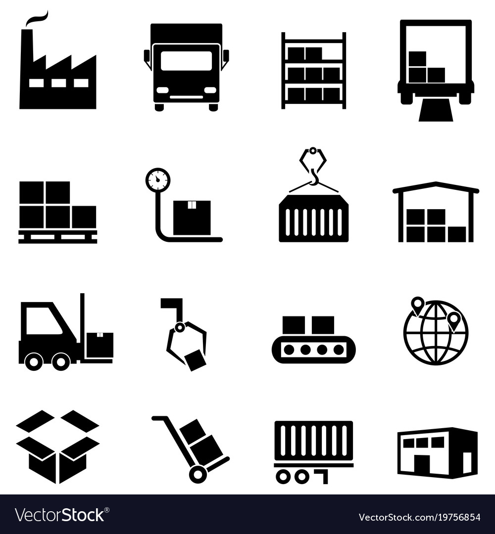 Logistics distribution and warehouse icons