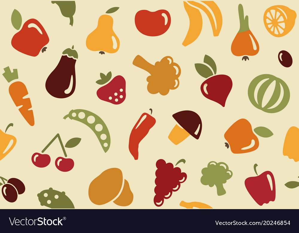 Pattern with fruits and vegetables