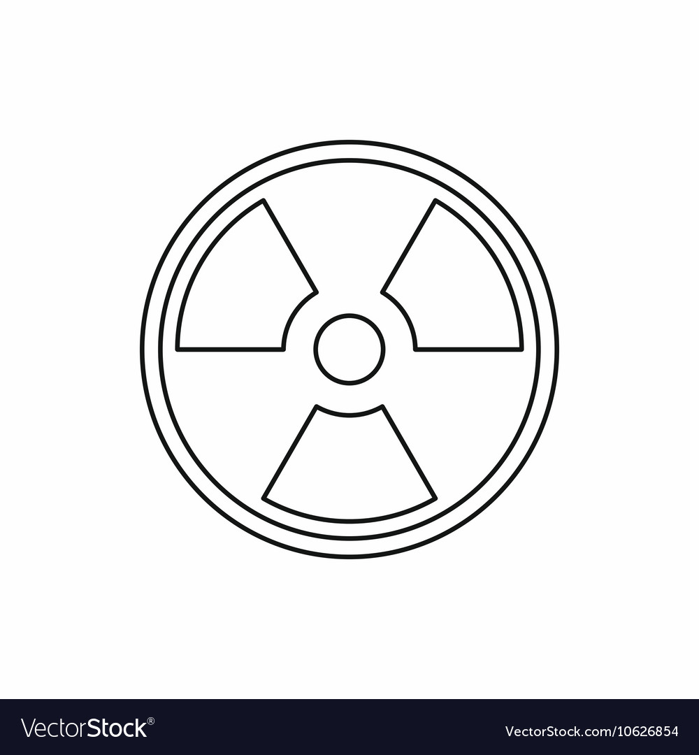 Radioactive sign icon outline style vector image