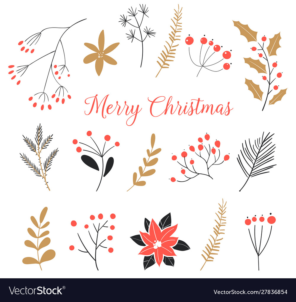 Set christmas elements isolated on white vector