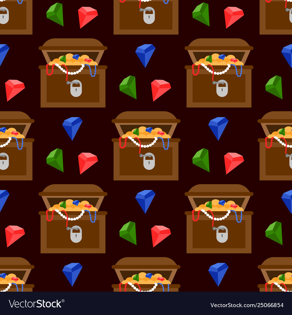 Treasure chest and color diamonds seamless pattern