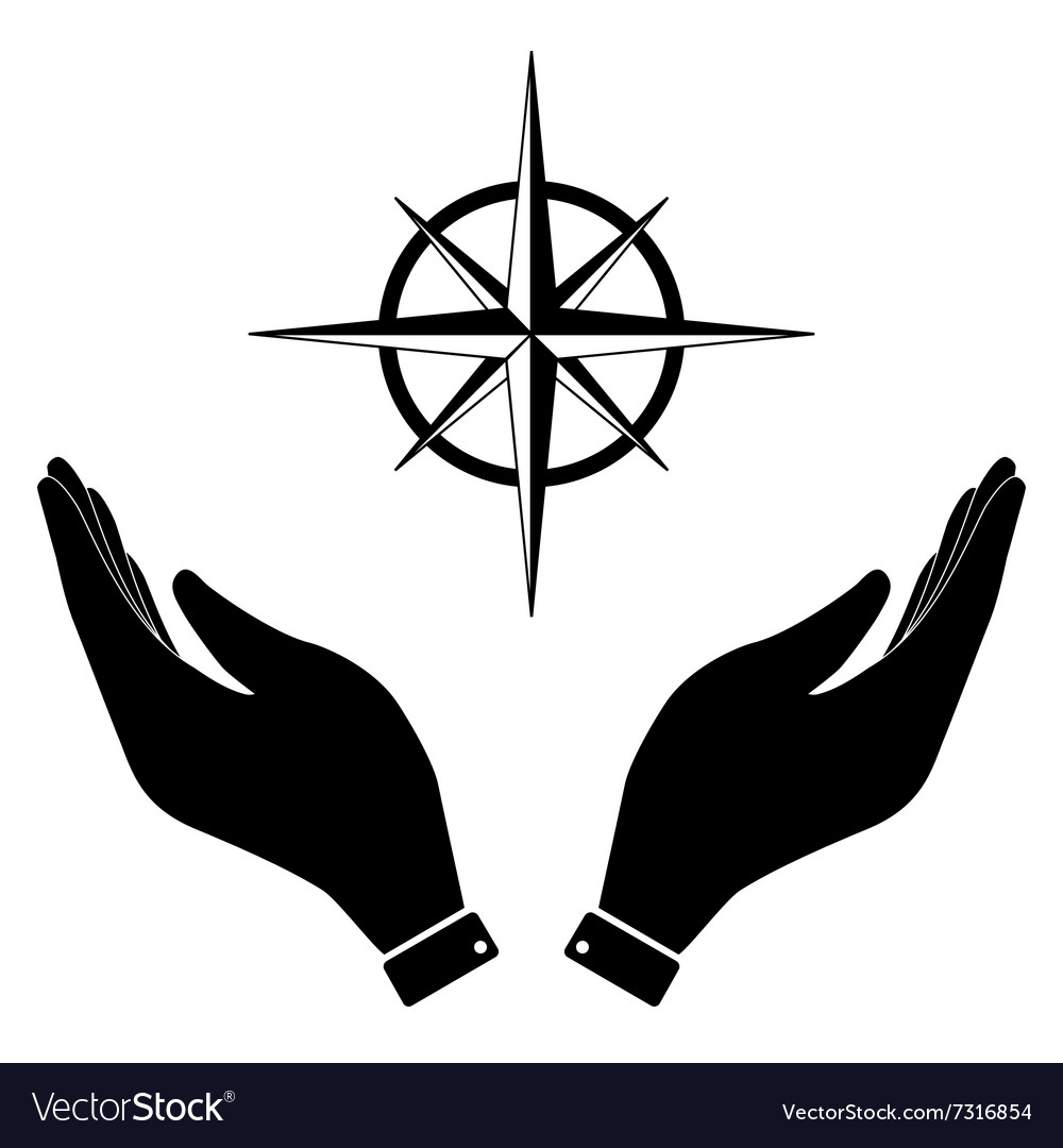 Wind rose in hand icon